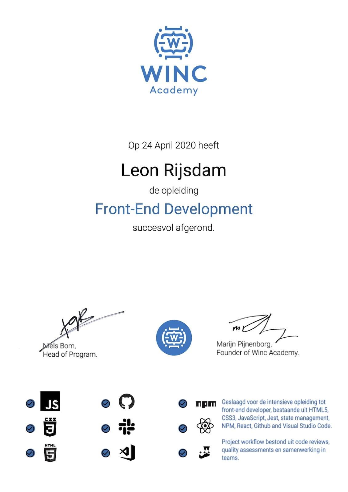 Certificate Front-end Development