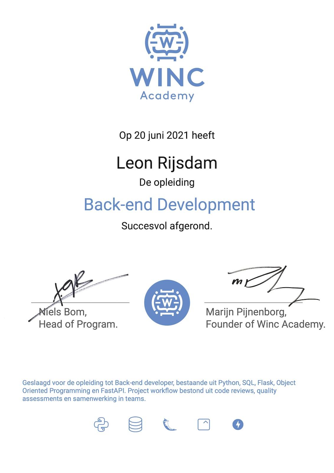 Certificate Back-end Development